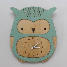 Laser Cut Cute Baby Owl Wall Clock Kids Room Decor Free Vector