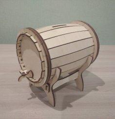 Laser Cut Wooden Barrel Money Bank Free Vector