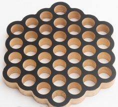 Laser Cut Round Honeycomb Trivet 37 Holes DXF File