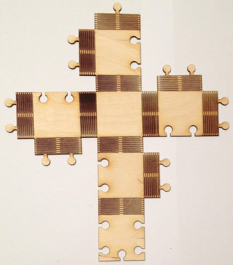 Laser Cut Cube 3mm Birch Plywood DXF File