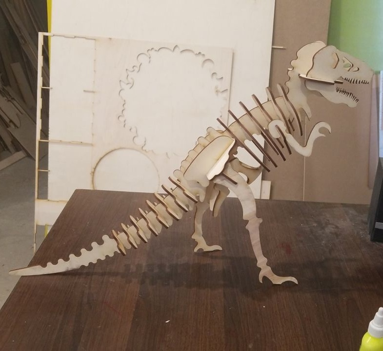 Laser Cut Tyrannosaurus Dinosaur 3D Puzzle 3mm Free Vector