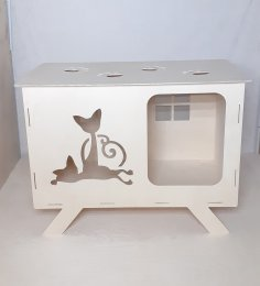 Laser Cut Wooden Cat House Free Vector