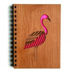 Laser Cut Engraved Wooden Diary Cover With Flamingo Decoration Free Vector