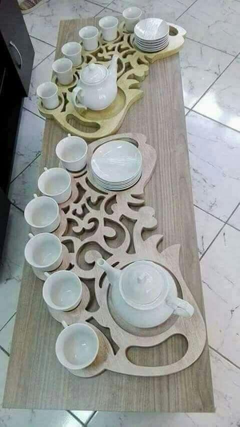 Laser Cut Wooden Decorative Tea Tray DXF File