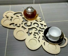 Laser Cut Wooden Decorative Tea Tray DXF File