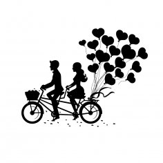 Laser Engraving Romantic Couple On Tandem Bike Free Vector