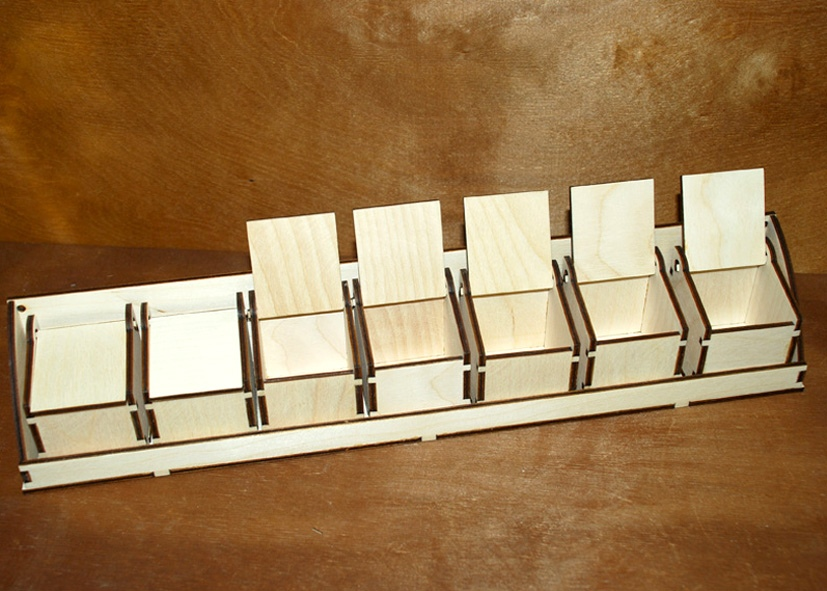 Laser Cut Mini Boxes Rack For Small Items Storage Organizer Free Vector