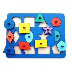 Laser Cut Wooden Peg Puzzle Toy For Montessori Kids Free Vector