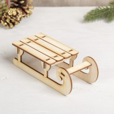 Laser Cut Wooden Sled Free Vector