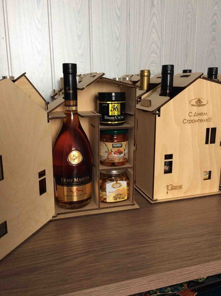 Laser Cut Wine Gift Box Chimney House Chalet Free Vector