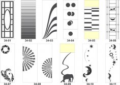 Artistic sandblasting patterns Free Vector