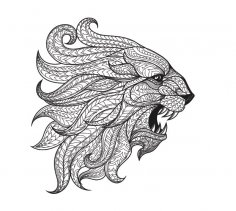 Ethnic patterned head of Lion Free Vector