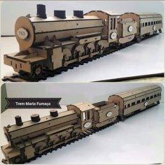 Locomotive Laser cutting 3d puzzle Free Vector