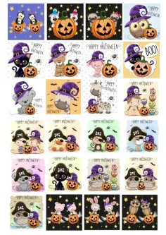 Cute Halloween Character Collection Free Vector