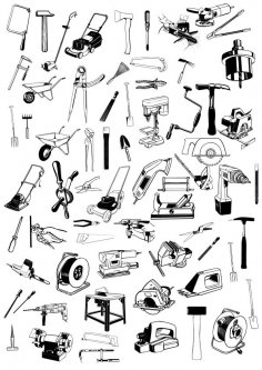 Tools Icons Set Sketch Vector Art