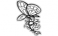 Butterfly With Flower dxf File