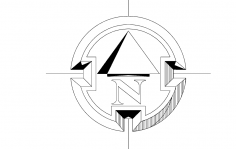 North Arrow Symbol Round dxf File