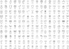 Thin Line Icons Set Free Vector