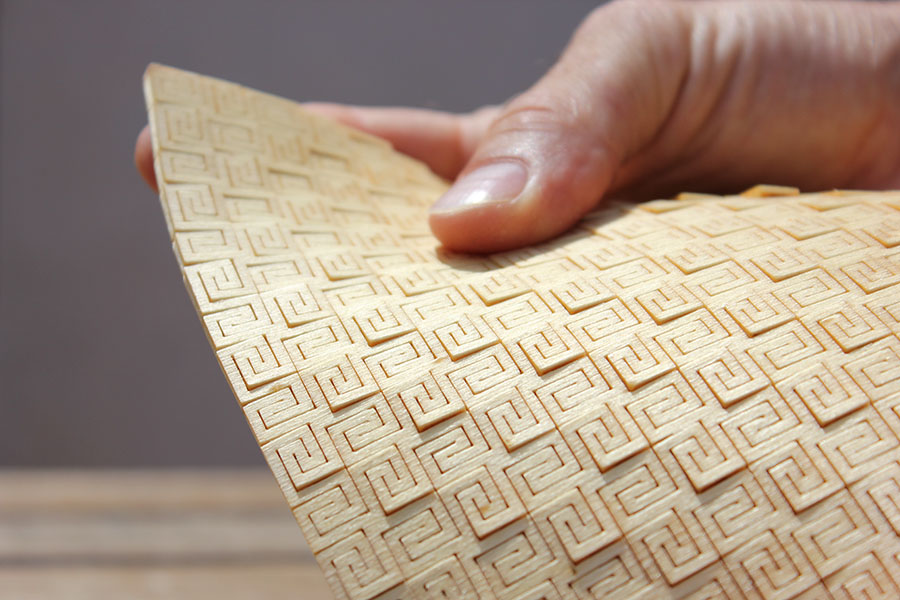 Super flexible laser cut plywood living hinge pattern DXF File
