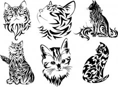 Tribal Cat Tattoo Vector Art Free Vector