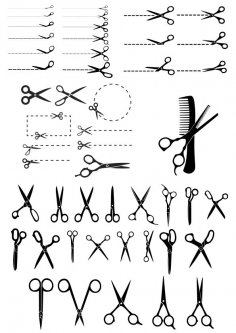 Scissors with Cut Lines Vector Illustration Free Vector