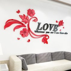 Wall Decals For Living Room Letter Flower CDR File
