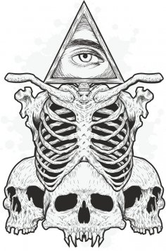 Skulls Eye Print Free Vector