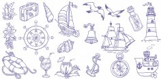 Marine Handdrawn Set Free Vector