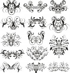 Swirl Decor Set Free Vector