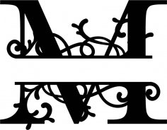 Split Monogram Letter M DXF File