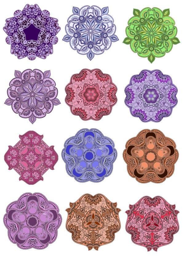 Colorful Mandala Vector Design Pack Free Vector