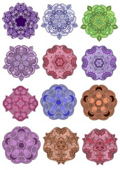 Colorful Mandala Vector Design Pack Free Vector