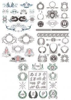 Vintage Decor Set Free Vector