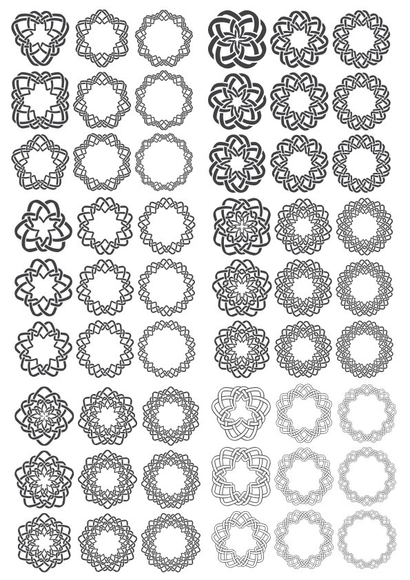 Ornamental Round Decors Free Vector