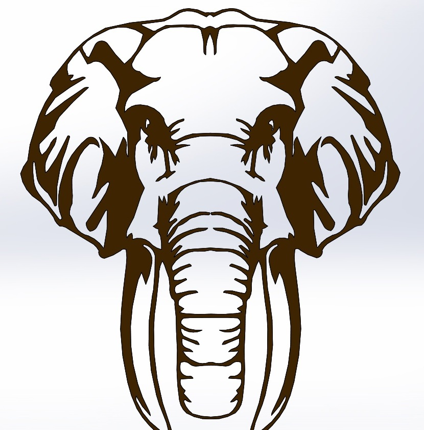 Laser Cut Engrave Decor Elephant DXF File