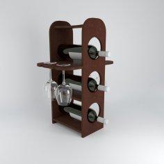 Laser Cut Minibar Wine Bottles Rack And Glasses Holder Free Vector
