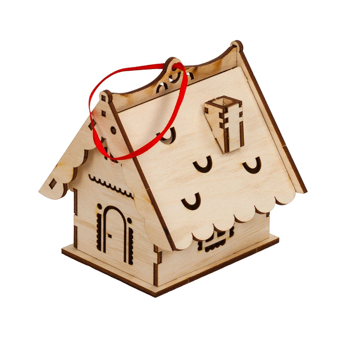 Laser Cut Christmas Wooden House Free Vector