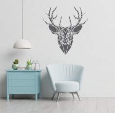Laser Cut Deer Head Polygonal Panel Wall Decor Free Vector