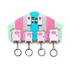 Laser Cut Pig Key Holder Wall Decor Free Vector