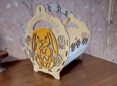 Laser Cut Decorative Basket With Bunny DWG File