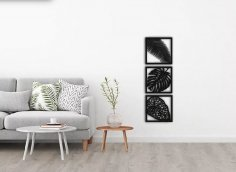 Laser Cut Floral Design Frames Home Wall Decor DXF File