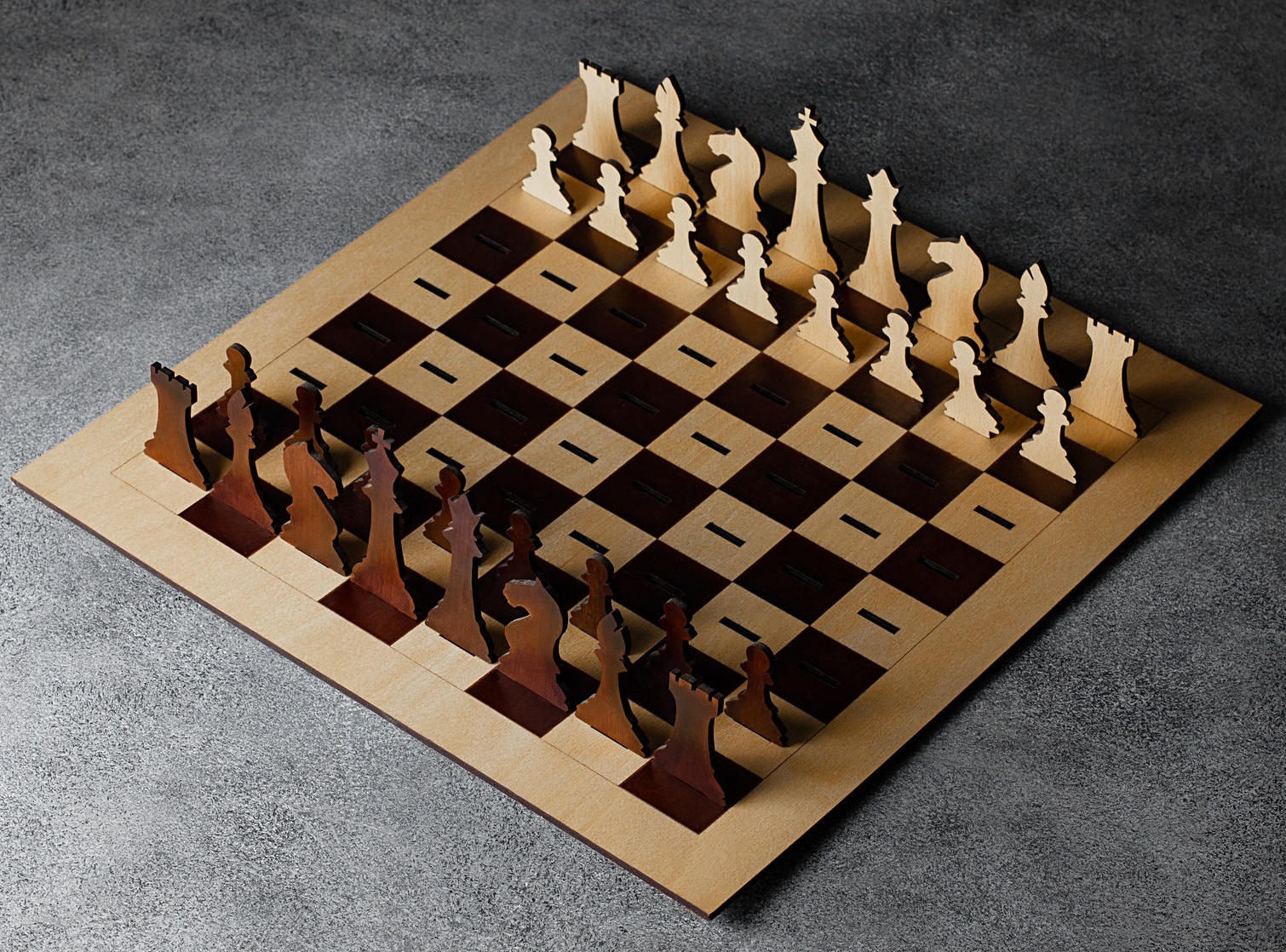 Laser Cut Wooden Chess Board & Pieces 4mm Free Vector