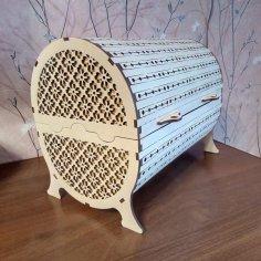 Laser Cut Wooden Decorative Bread Basket DWG File