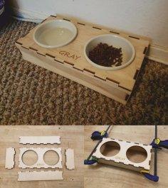 Laser Cut Pet Food Bowl Stand DXF File