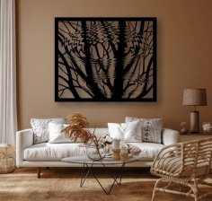 Laser Cut Decorative Trees Reflection Wall Panel Free Vector