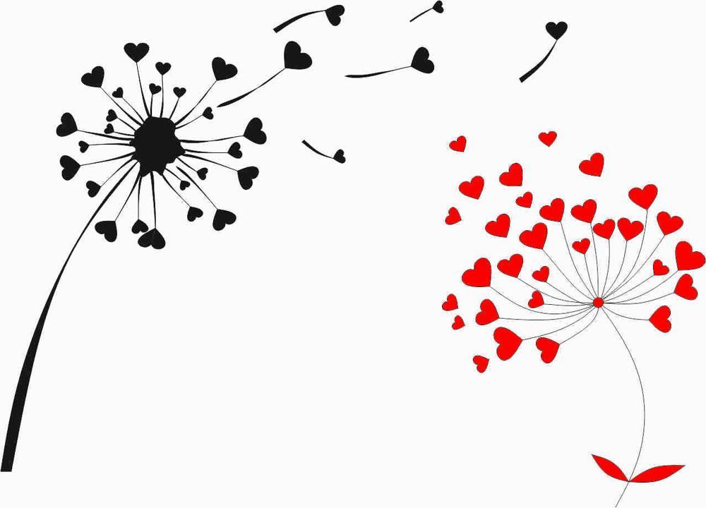 Heart Shape Oduvan Dandelion Print Free Vector