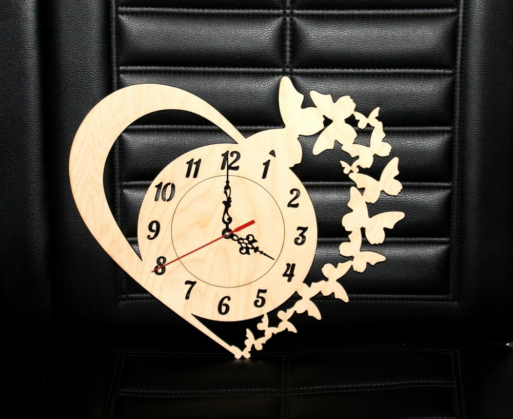 Laser Cut Clock with Heart and Butterflies Free Vector