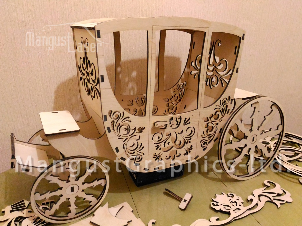 Laser Cut Carriage 3D Puzzle Free Vector