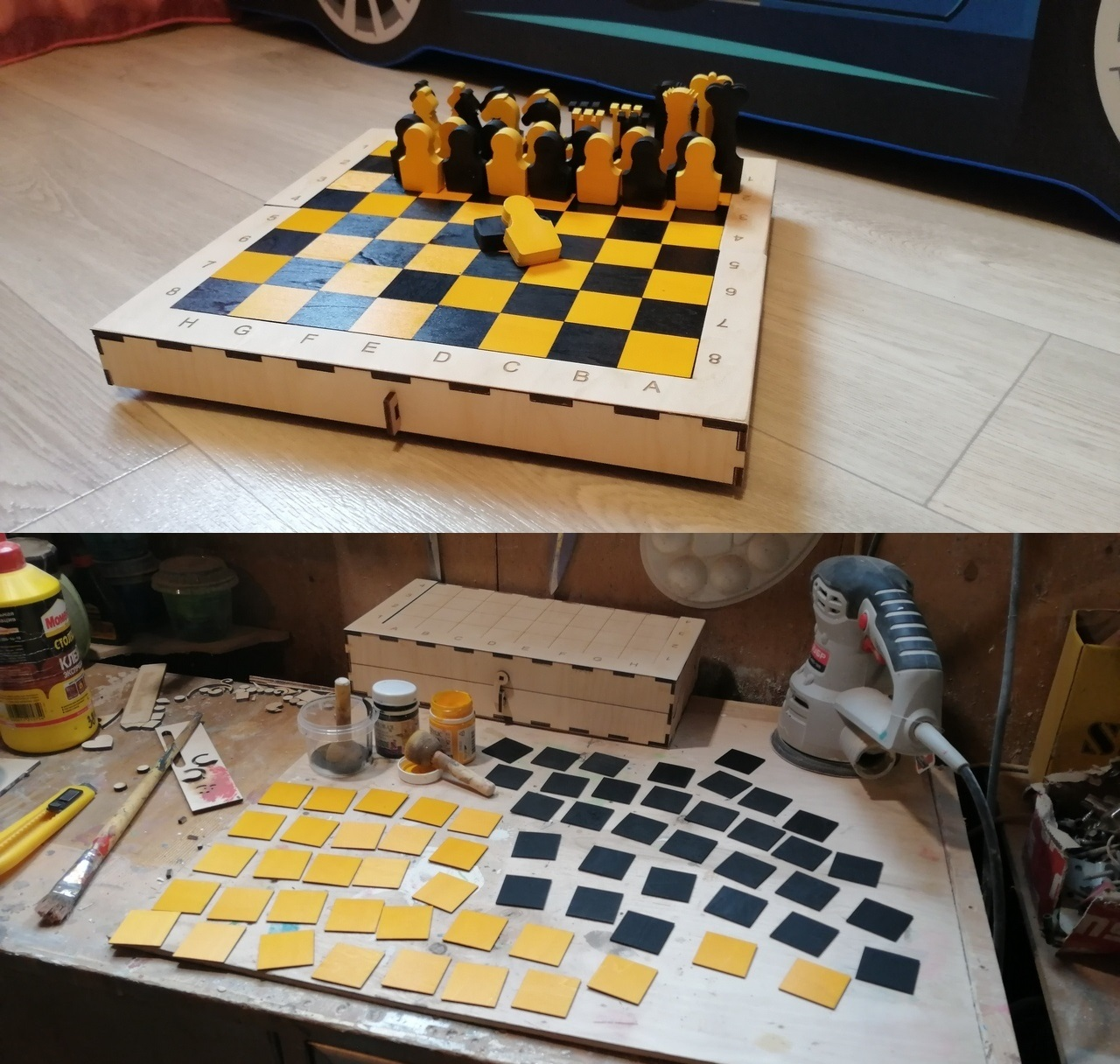 Laser Cut Portable Chess Set Template Free Vector