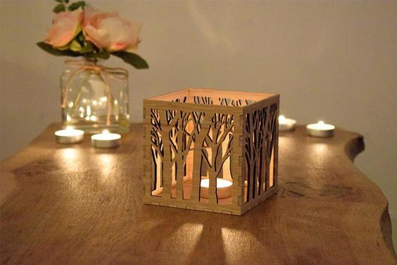 Laser Cut Wood Candle Holder Free Vector